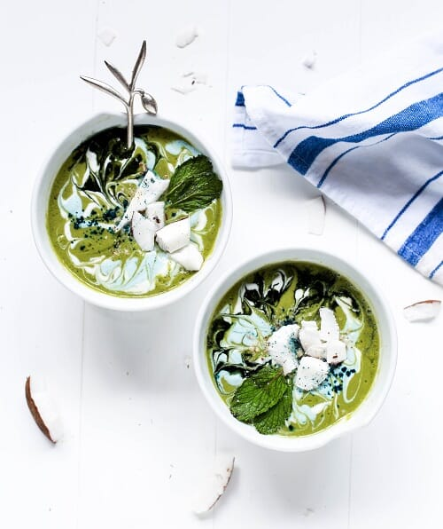 Whole30 green smoothie with coconut