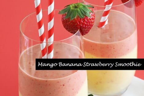 Mango banana strawberry smoothie